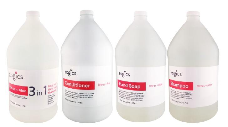Zogics 3 in 1 Citrus & Aloe Hand Soap, Shampoo, and Body Wash