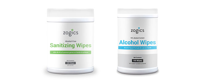 Zogics Hand Sanitizing and Alcohol Wipe Tubs