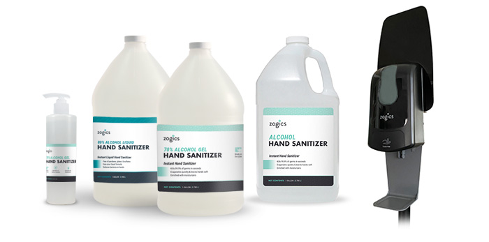 zogics hand sanitizer and dispenser lineup