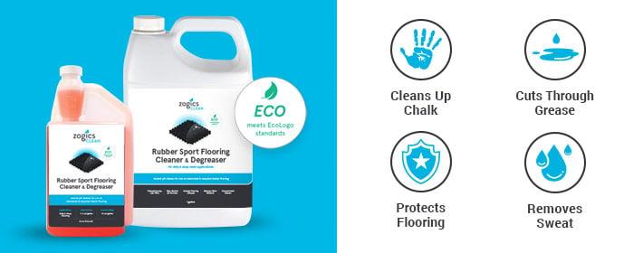 Zogics Rubber Sport Flooring Cleaner & Degreaser for maintaining interlocking rubber flooring puzzle tiles.