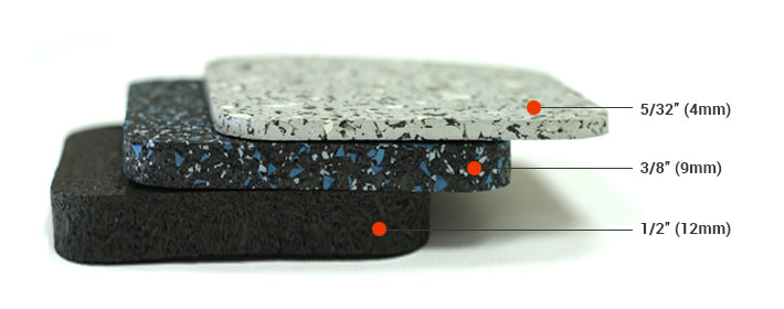 Different rubber flooring thickness options.