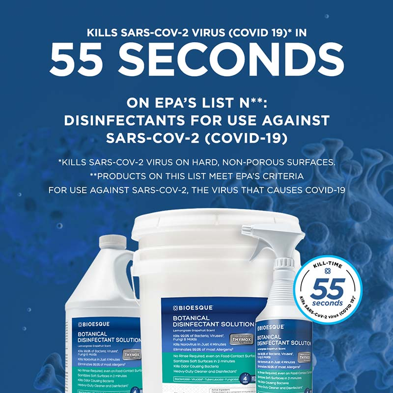 Bioesque Botanical Disinfectant kills SARS-CoV-2 in less than a minute