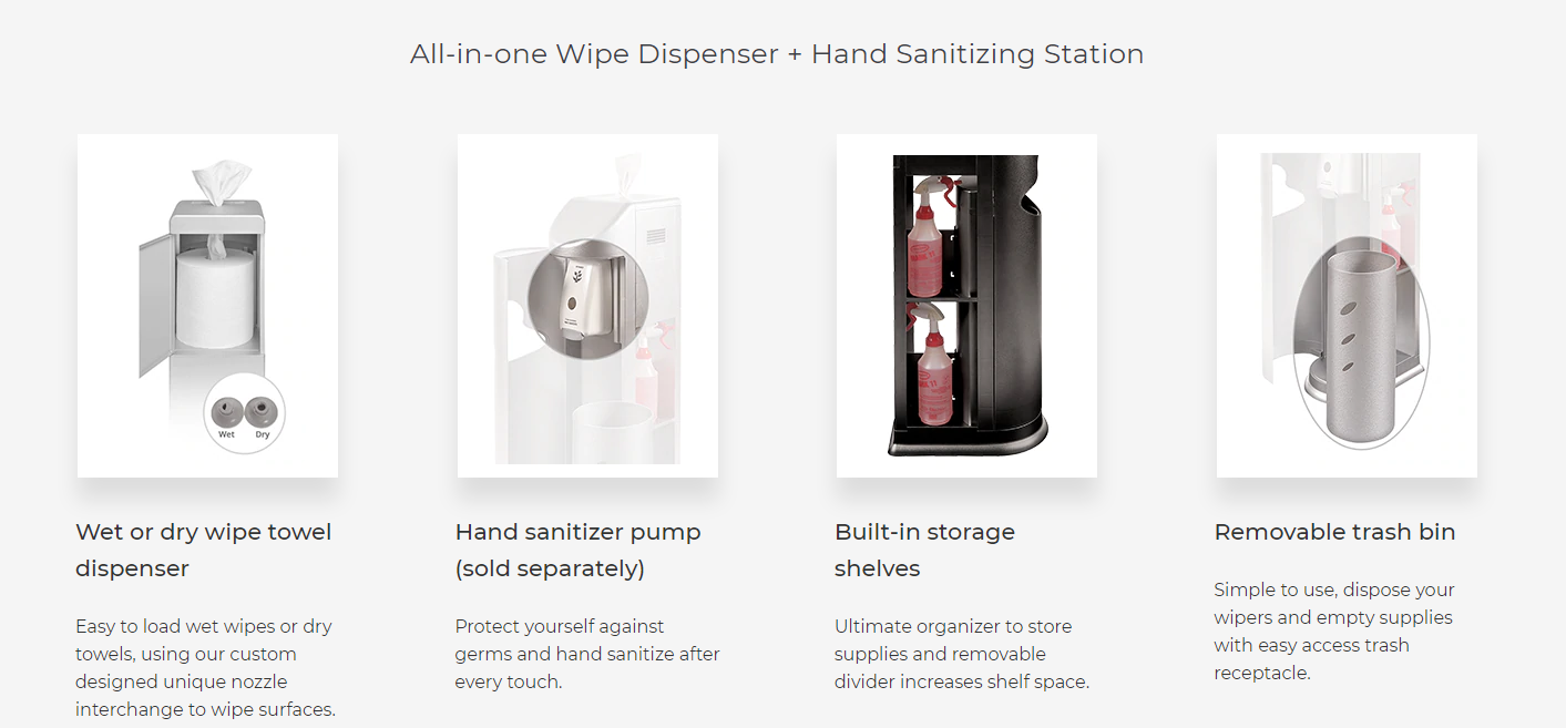 Our all-in-one wipe dispenser and hand sanitizing station